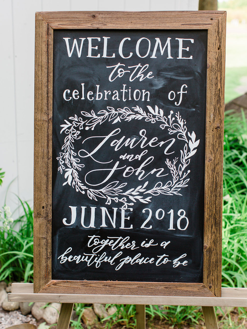 custom wedding chalk board sign by sable and gray