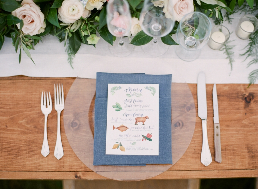 custom illustrated wedding menu by sable and gray