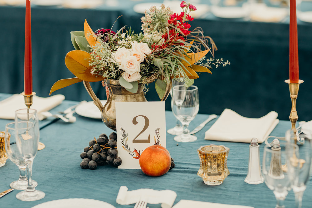 custom wedding table number by sable and gray