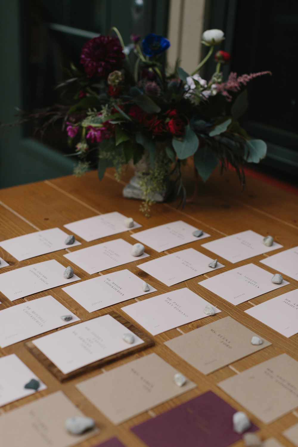 custom wedding escort cards by sable and gray