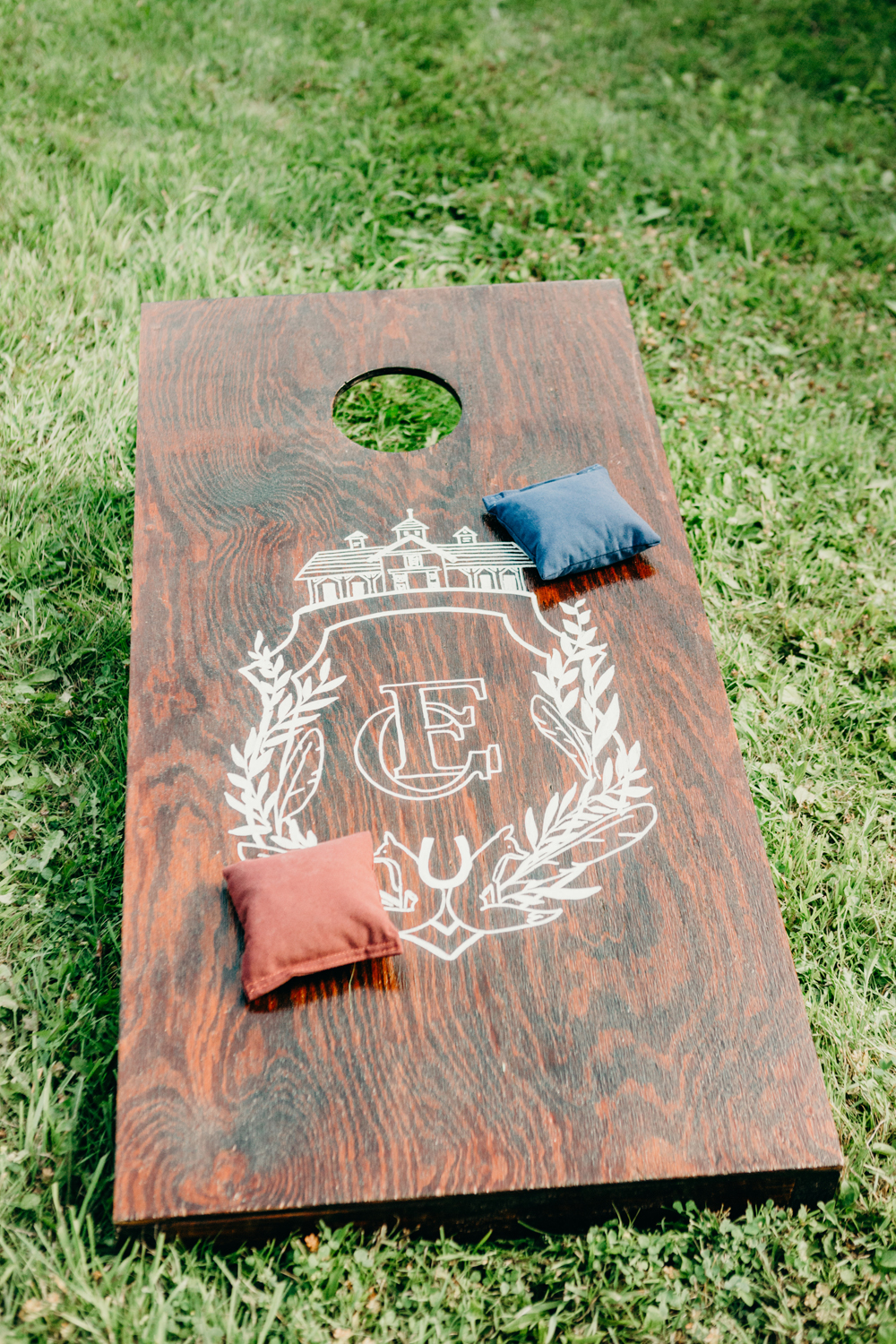 hand painted cornhole board by sable and gray