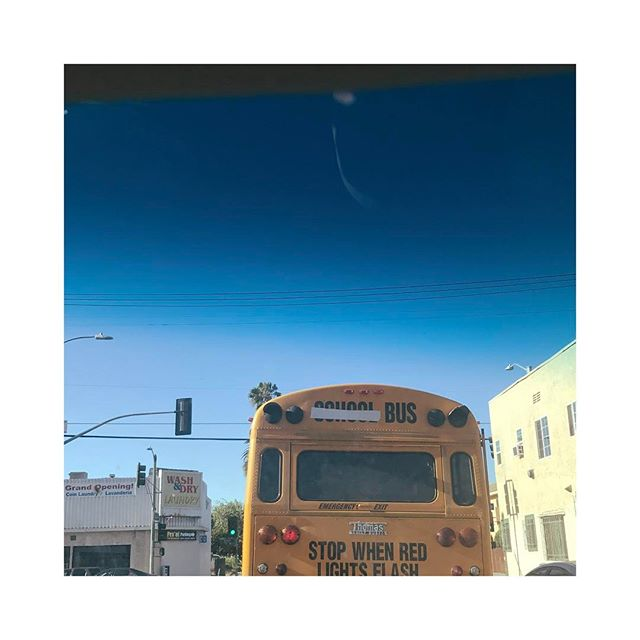 Day 105/106: we went to Disneyland yesterday & I've been living off cough drops and DayQuil all day and I don't know why all I have is this lame picture of a school bus pretending not to be a school bus... tomorrow is move out day, going to miss LA but excited to get back to Nashville ✨