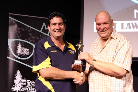 Above L-R: Glen Stagg from Mount Lawley Hardware, accepting the trophy on behalf of his daughter, Corina, and Eryk Matusik from Matusik Jewellers