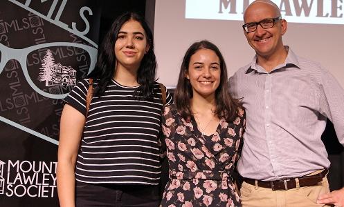 Below L-R: Finalists: Ellien Wardyn, Cassandra Lionetta-Civa with Simon Millman MLA