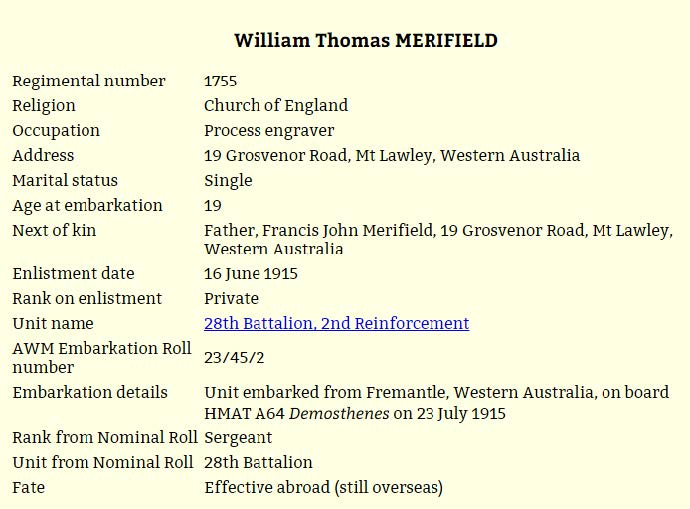 William Merifield – information from his war record