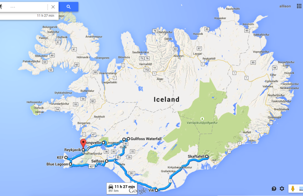 KEF > Reykjavik > Golden Circle > Vik > Skaftafell > Selfoss > Reykjavik > Blue Lagoon