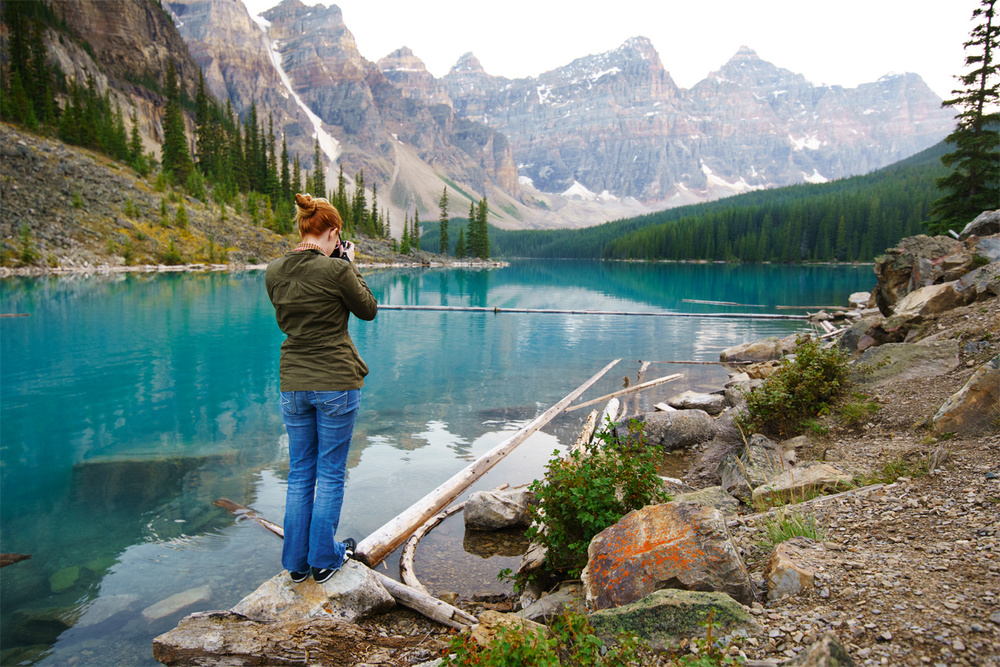 Moraine Lake by Day + Photographer at work