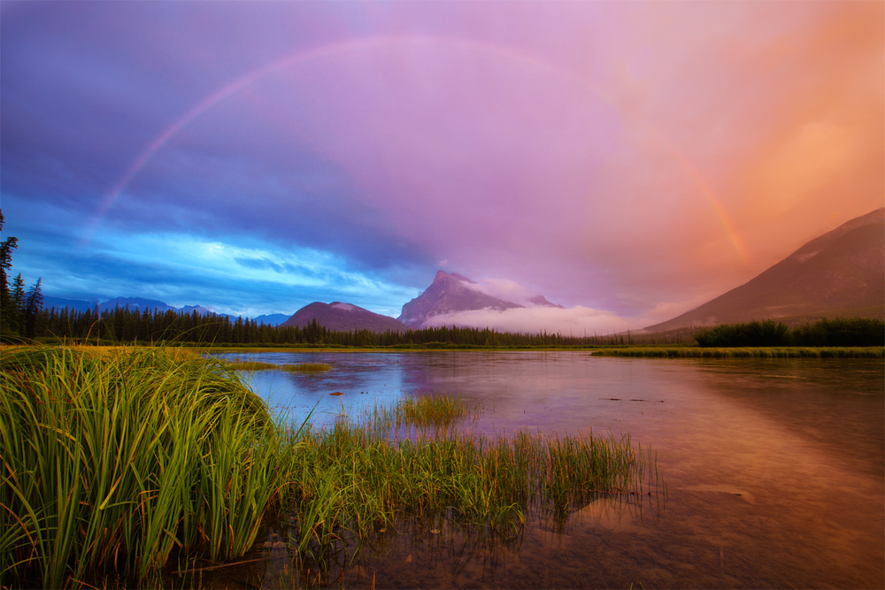 Rainbow over Mt. Rundle