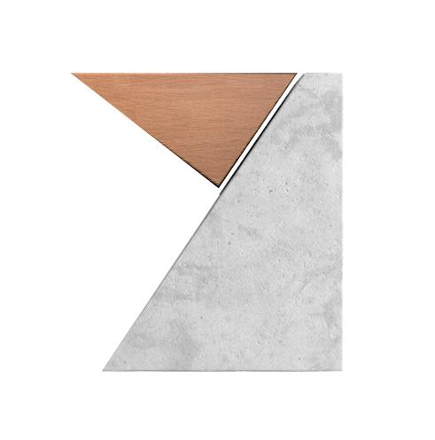 tangram em madeira e concreto