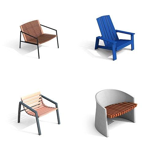 Algumas de nossas poltronas. Concreto, aço e madeira. #delazzarimu #design #mobiliariourbano #poltrona #landscapedesign #urbanfurniture #