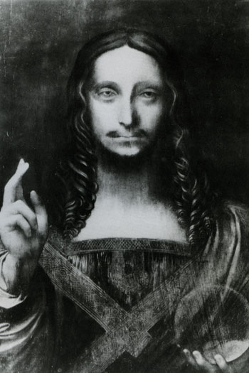 Salvator Mundi  A black and white photo of the Painting (or a copy of it) before restoration.