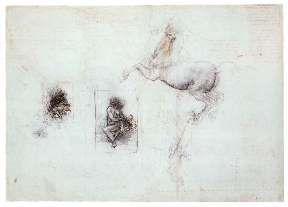 Studies of Leda and a Horse, black chalk, brush and ink on paper, 1503 - 1507, Royal Library, Windsor