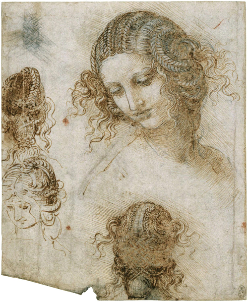 Studies for the head of Leda  c. 1505 -1506  Pen and ink over black chalk  20 x 16.2 cm  Royal Collection Trust, Windsor Castle, London, U.K.