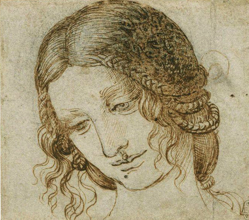 The Head of Leda  c. 1504-1506  Pen & ink over black chalk  17.7 x 14.7 cm  Royal Collection Trust, Windsor Castle,  London, U.K.