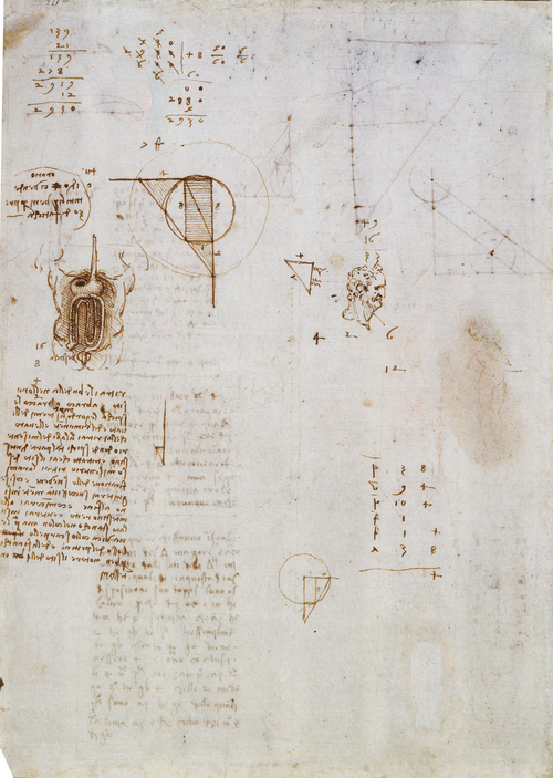 Diagrams w Leda Sketch  c. 1506 - 1508  Pen & Ink  27.9 x 20.4 cm  Royal Collection