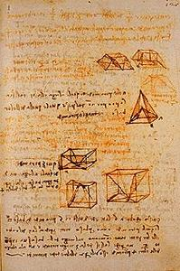 Studies of stereometry.  Madrid Ms. II (BNM), c. 127r