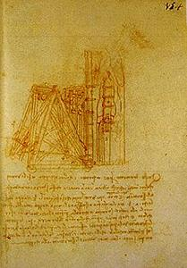 Machine for transporting the mould of the Sforza monument and lowering it into the melting-pit.  Madrid Ms. II (BNM), c. 154r