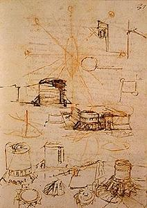 Fortification studies for the rock of Piombino.  Madrid Ms. II (BNM), c. 37r
