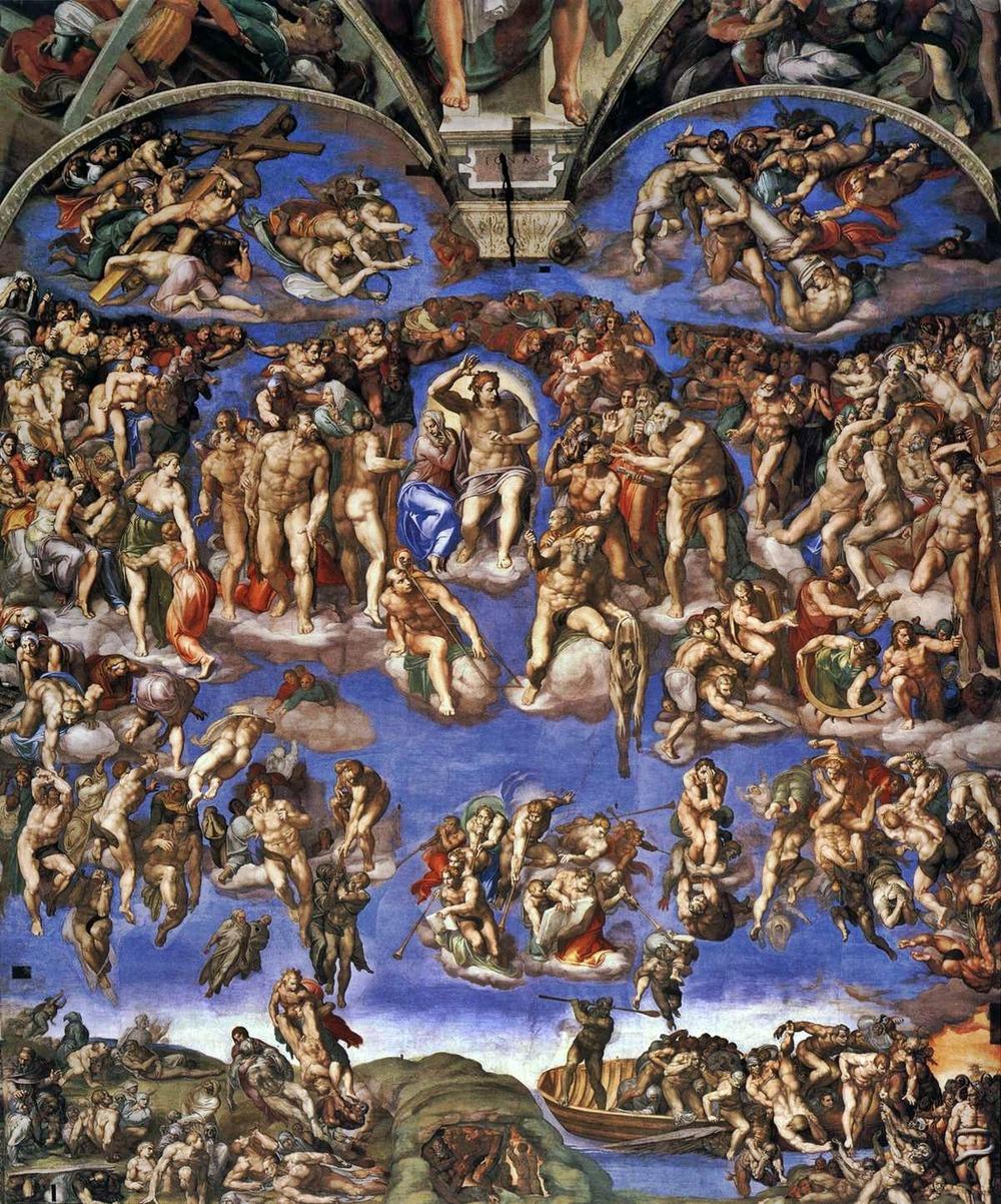 Giudizio Universale  1536-41, Cappella Sistina, Vaticano  affresco,13,7x12,2m