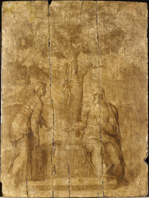 Attributed to Michelangelo - Christ and the Woman of Samaria. N.d., between 1536 and 1542