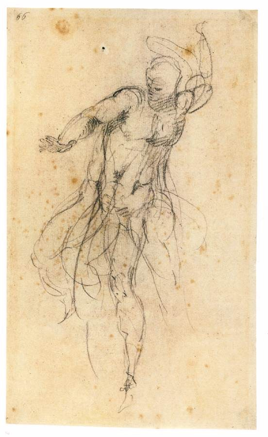 Michelangelo Buonarroti  The Risen Christ, 1532-34   black chalk, 325 x 190 mm