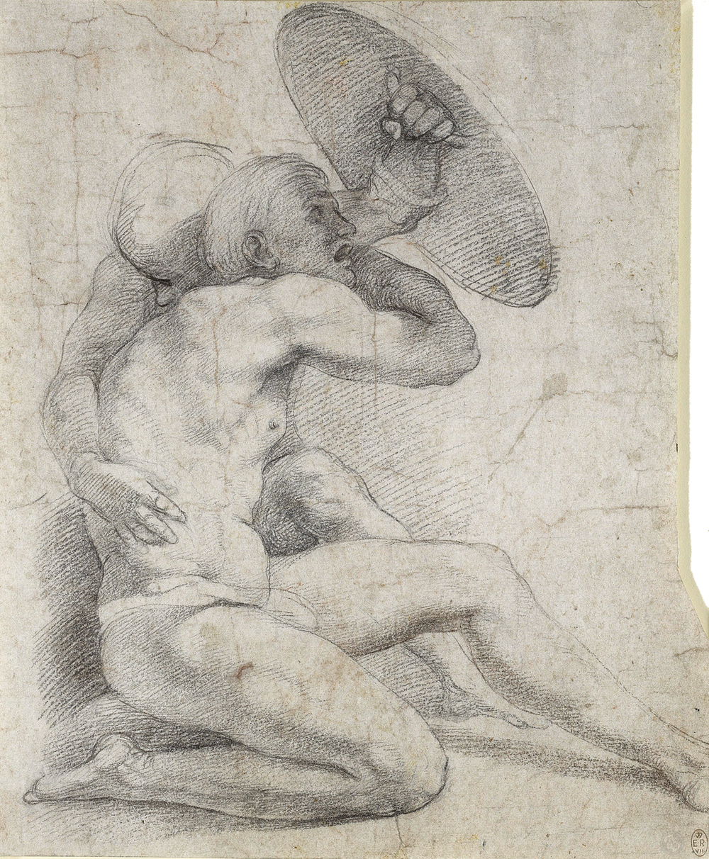 Two Figures shielding  themselves