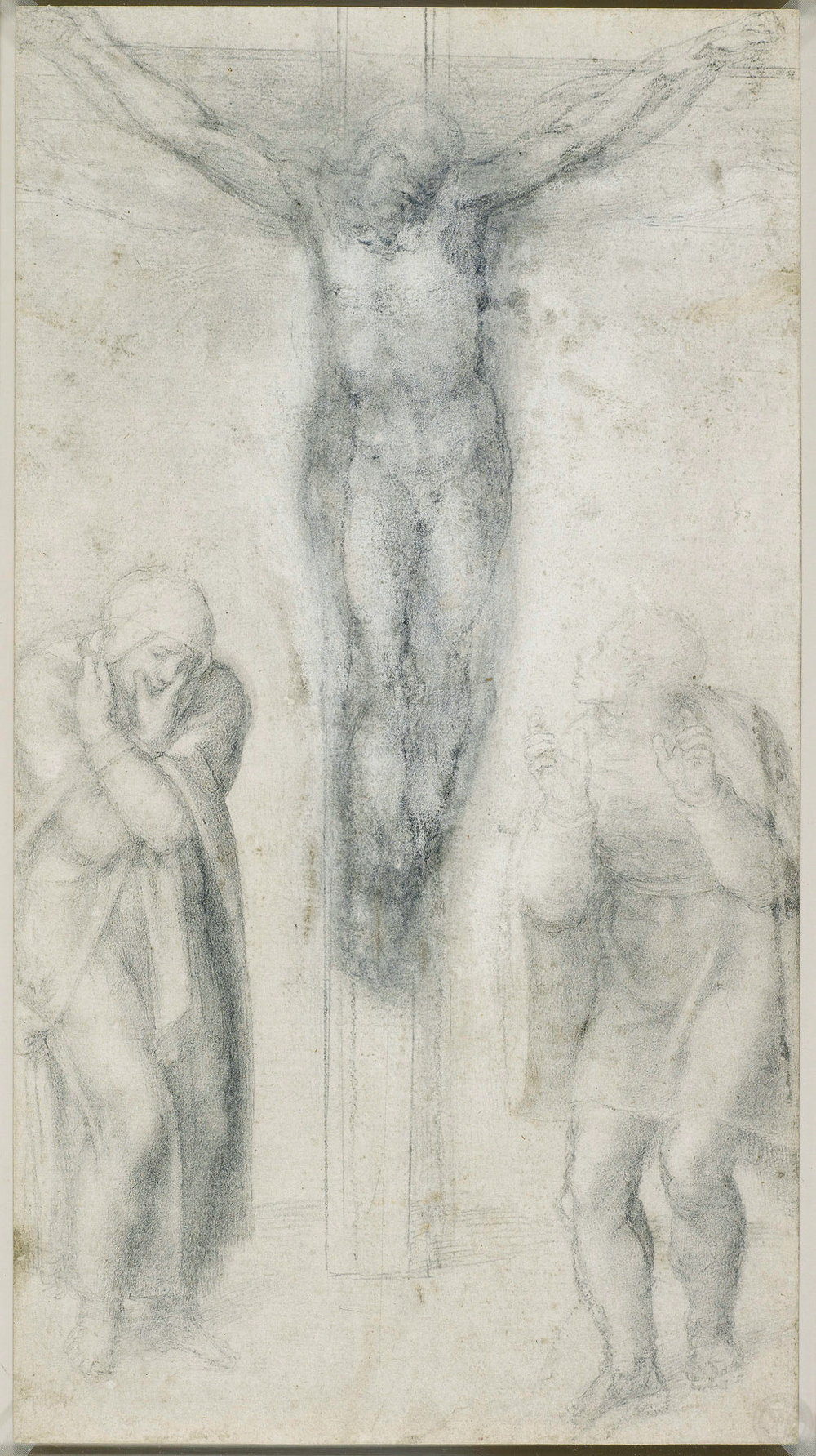 c.1562 Black chalk 38.2 x 21.0 cm  A drawing of the crucified Christ upon a T-shaped cross, flanked by the Virgin Mary on the left, and St John on the right.