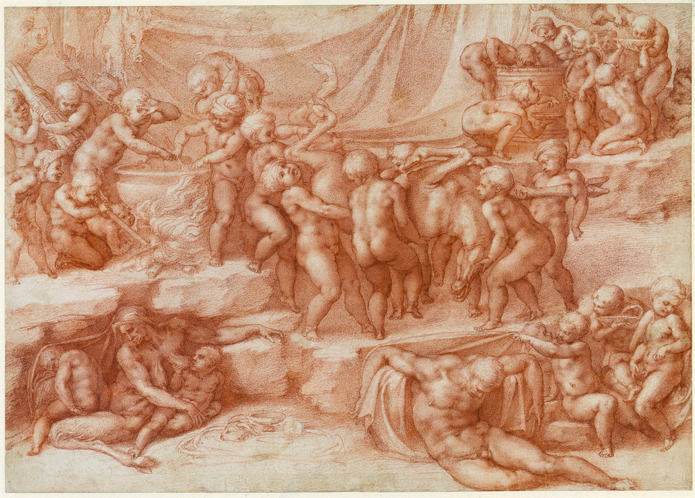 1533  Red chalk  27.4 x 38.8 cm        Reference(s):      Provenance:   Presented by the artist to Tommaso de' Cavalieri; after whose death, 1587, acquired by Cardinal Alessandro Farnese; Royal Collection by c.1810 (Inventory A, p. 45, Mich: Angelo Buonaroti Tom. II, '3. Several Boys carrying a dead Monster, One with a Pig; some boiling a Caldron, other in Groupe in the foreground drinking; A female Satyr and two Children; one sucking her lank Breast, the other uncovering an Old Man a Sleep - perhaps the Emblem of Night - the subject very obscure, but the Drawing very Capital...Red Chalk.').   Description:   Like the Fall of Phaeton, this 'presentation drawing' was executed by Michelangelo as a gift for Tommaso de' Cavalieri. The level of finish is extraordinary, even by Michelangelo's standards, and the sheet is almost perfectly preserved. The children represent the lowest state of humanity, devoid of reason (also denoted by the drunken slumber of the only adult human) and acting in a semi-animal manner, made explicit by the satyress suckling at lower left.  This drawing of A Children's bacchanal was executed by Michelangelo as a gift for his friend Tommaso de' Cavalieri. Vasari (who knew Michelangelo well) mentioned it last among the four sheets made for Cavalieri in 1532-3, and as some of the figures in the composition were copied by Michelangelo's Florentine assistant Raffaello da Montelupo, it must have been begun before Michelangelo left Florence for Rome for the last time, in October 1533. The level of finish is extraordinary, even by Michelangelo's standards. Working mainly with the sharpened point of the chalk, the artist maintained a consistent level of exquisite workmanship across the whole of the densely figured sheet. The state of preservation of the sheet is almost perfect, except for a little trimming around the edges as shown by early engravings after the drawing.  The scene is a cave or other rocky setting hung with drapery. At upper left, children stir a cauldron, while others stoke its fire; beyond hang a hare and the head of a boar, a small boar is borne on a child's shoulders, and at the centre a group struggle to carry in a deer. At upper right is a wine butt, from which some children drink, while another urinates into a wine bowl that is doubtless to be offered to one of his companions. Below, a man sleeps, apparently under the effect of the wine, while to the left an old satyr-woman suckles a child.  No textual source is known for the imagery, but the meaning is clear. The infants represent the lowest state of humanity, devoid of reason (also denoted by the drunken slumber of the only adult human) and thus acting in a semi-animal manner, made explicit by the satyr-woman. At one level this is a standard Neoplatonic theme; less seriously, it may also be possible to see in the drawing a warning from the austere Michelangelo to the adolescent Cavalieri about the perils of drink.  Many of the motifs are derived from antique sarcophagi of children, of which several were known in the sixteenth century. While the echoes of Raphael's Entombment of 1507 (now Galleria Borghese, Rome; then in San Francesco al Prato, Perugia), in the opposed straining of the central group, may be thought of as generic, the kneeling putto at upper right replicates the complex pose of the holy woman at the lower right of that painting, turned through ninety degrees. This is not a simple quotation: Michelangelo was repaying a compliment, for Raphael had taken his figure from the Virgin in Michelangelo's Doni Tondo (Uffizi), also turning her through ninety degrees. In effect, Michelangelo was here replicating the pose of his own Doni Virgin, seen from behind. That Raphael was an intermediary in this transformation is demonstrated by the echoes of the Borghese Entombment in a double-sided drawing by Michelangelo in Bayonne. On the recto of that sheet is a Lamentation - actually little different in iconography from Raphael's painting, which is in fact a Lamentation and carrying of Christ's body to the tomb - that quotes Raphael's composition directly in at least two elements; on the verso is what appears to be a preparatory sketch for the Children's bacchanal, showing a group of putti around (and some climbing into) a large wine vat, with a recumbent male nude immediately to the left.  Catalogue entry adapted from The Art of Italy in the Royal Collection: Renaissance and Baroque, London, 2007""