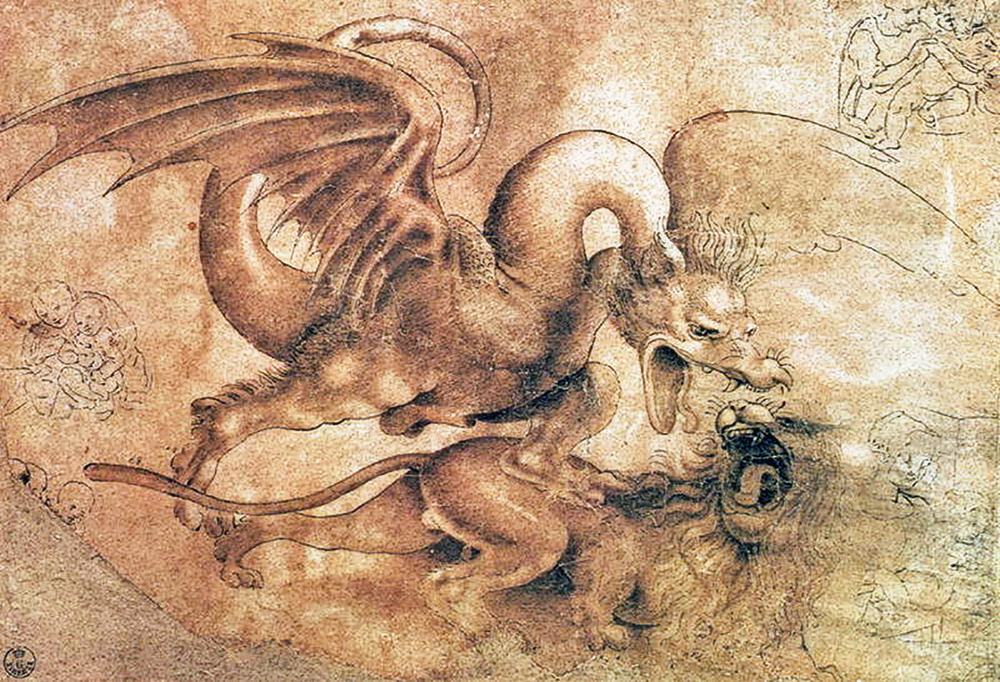 Leonardo da Vinci - Drawings - Animals -Ddragon-vs-lion.jpg