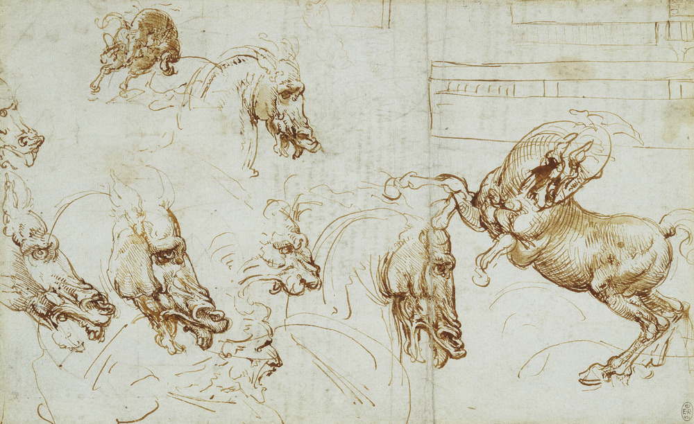 Leonardo da Vinci - Drawings - Animals -Many Horse Heads.jpg