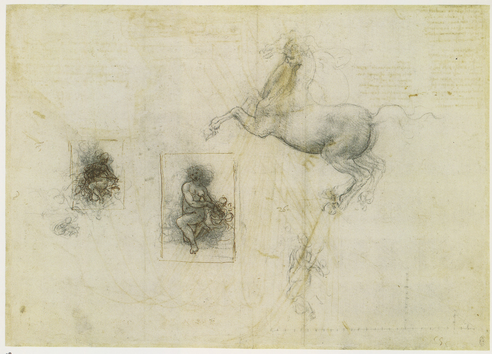 Sketch for a Leda and the swan and stufy of a horse 1504.jpg