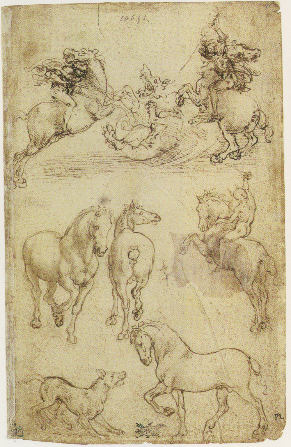 Two horsemen fighting a dragon and horse studies.jpg