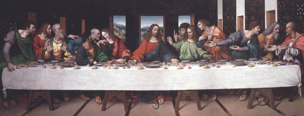 The Last Supper  , ca. 1520, by Giovanni Pietro Rizzoli, called Giampietrino), after Leonardo da Vinci, oil on canvas, currently in the collection of The Royal Academy of Arts, London