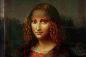 The Portrait of Salai and the Mona Lisa's faces combined at 50% transparency.