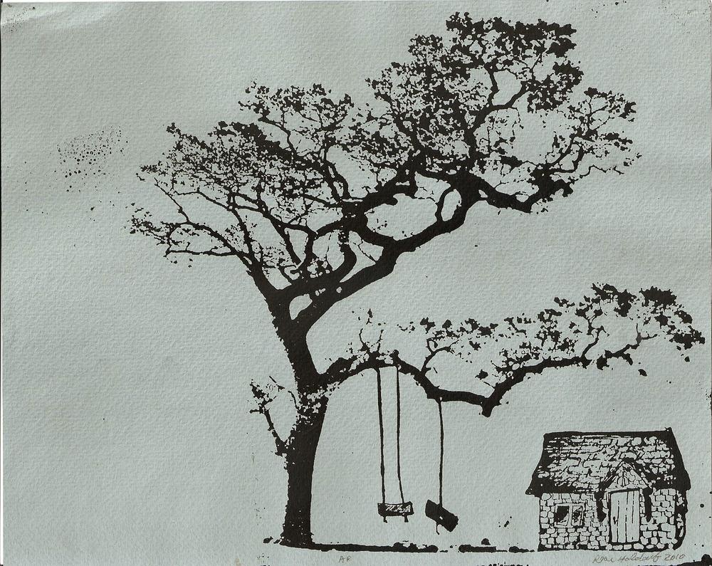 Tree House  Photopolymer print, 2010.