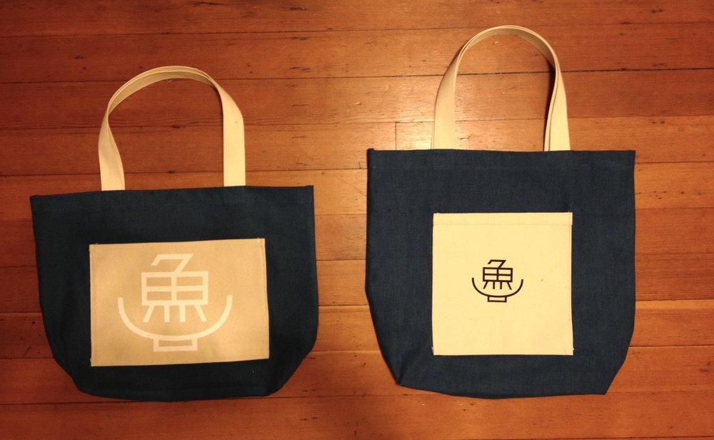 Screenprinted and sewn tote bags for Okonomi // Yuji Ramen restaurant in Brooklyn
