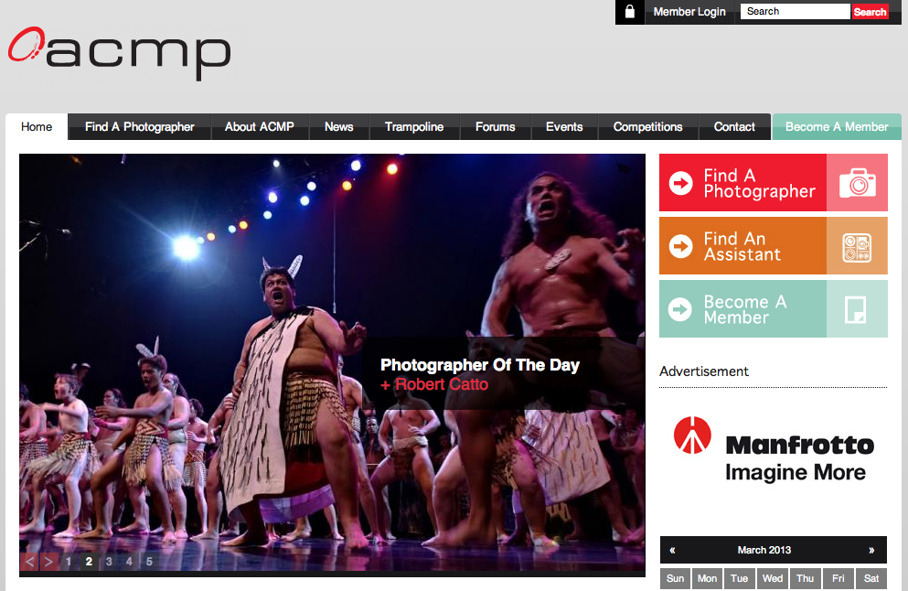 On the Australian Commercial and Media Photographers' home page today