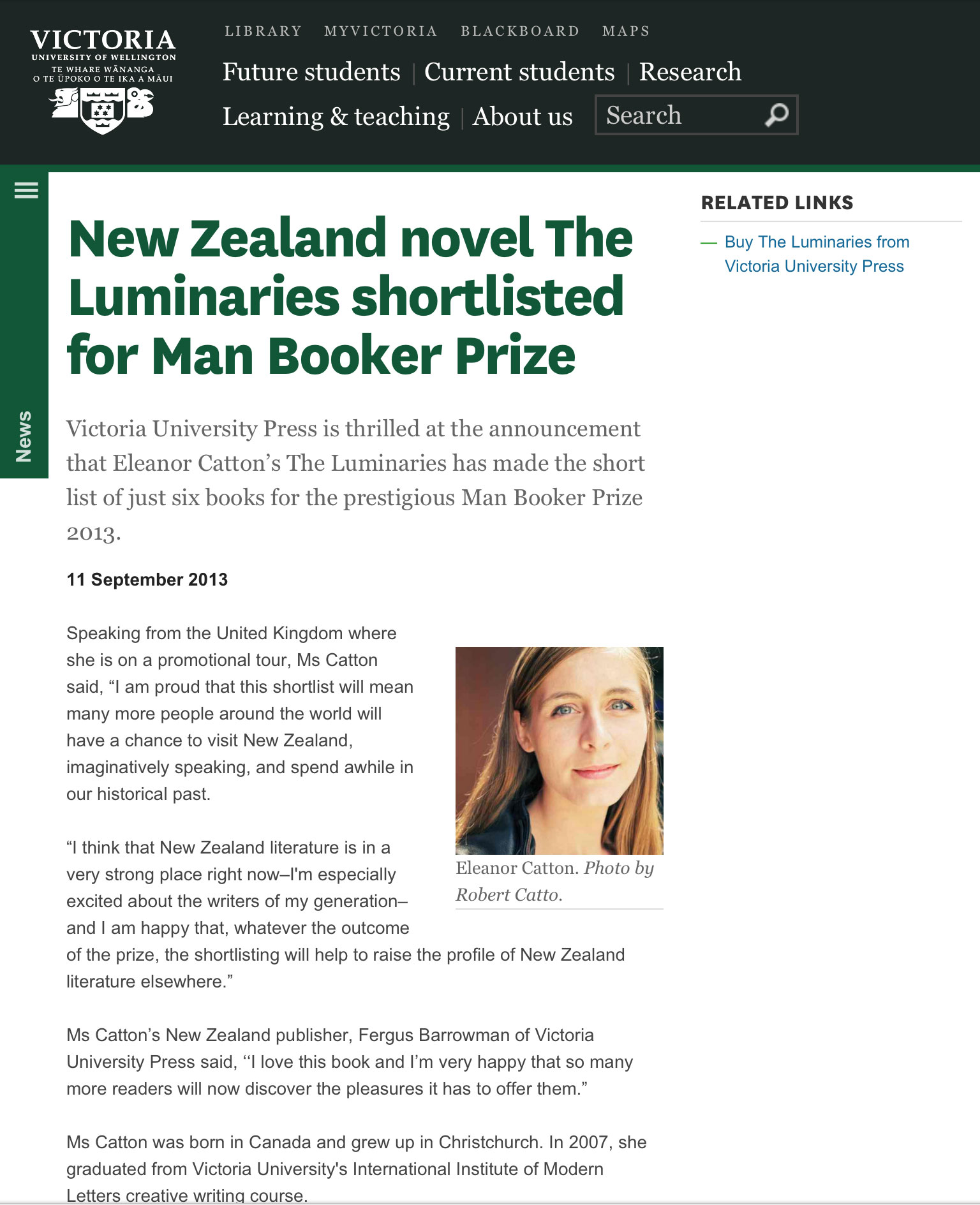 Canadian / New Zealand Writer Eleanor Catton