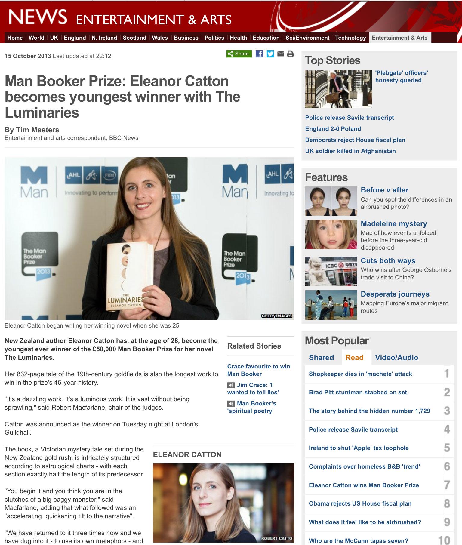 Eleanor Catton at the BBC website