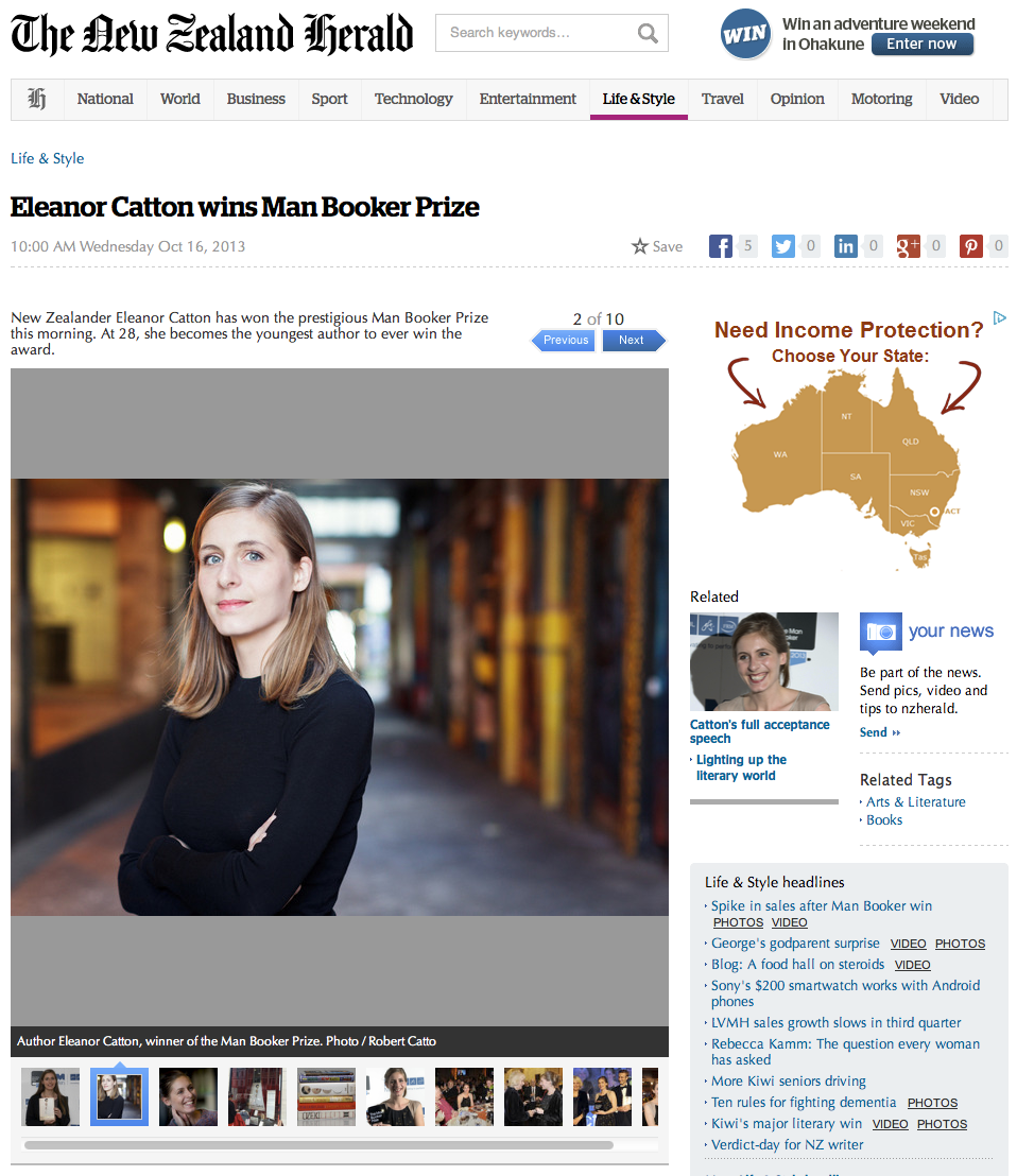 Eleanor Catton in the New Zealand Herald