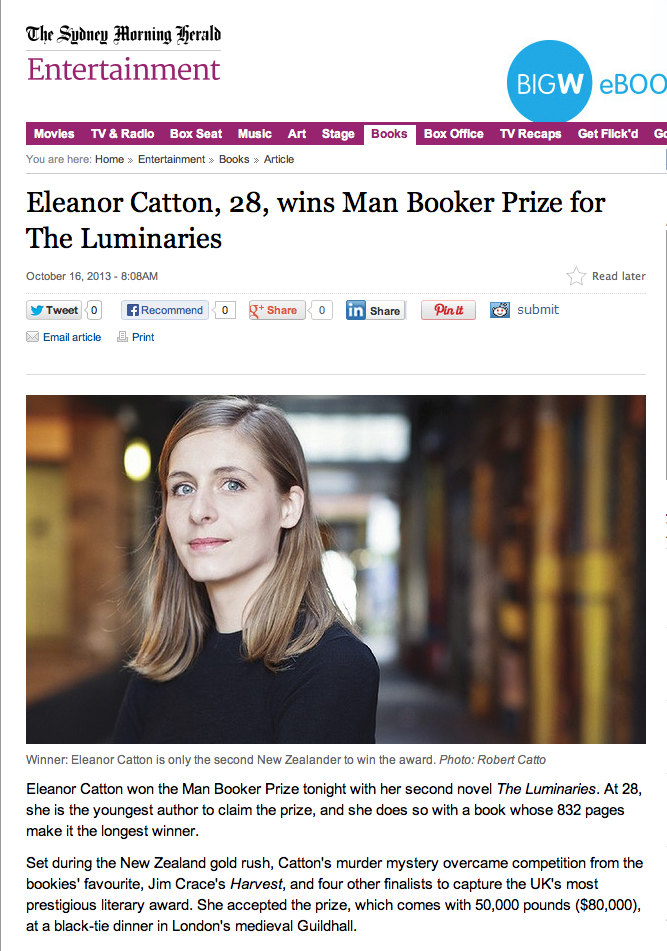Eleanor Catton in the Sydney Morning Herald