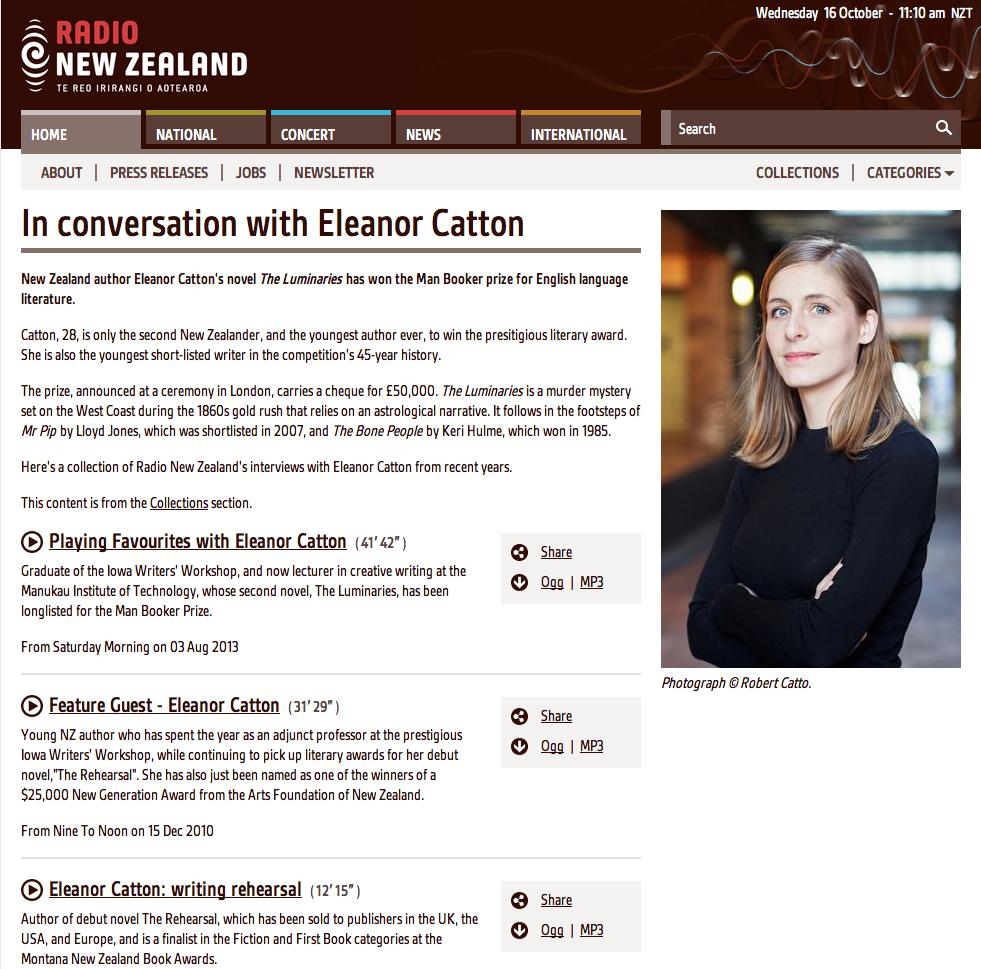 Eleanor Catton at Radio New Zealand