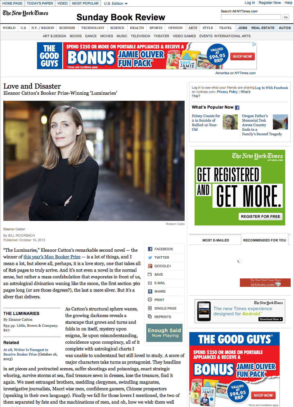 Eleanor Catton in the New York Times Review of Books