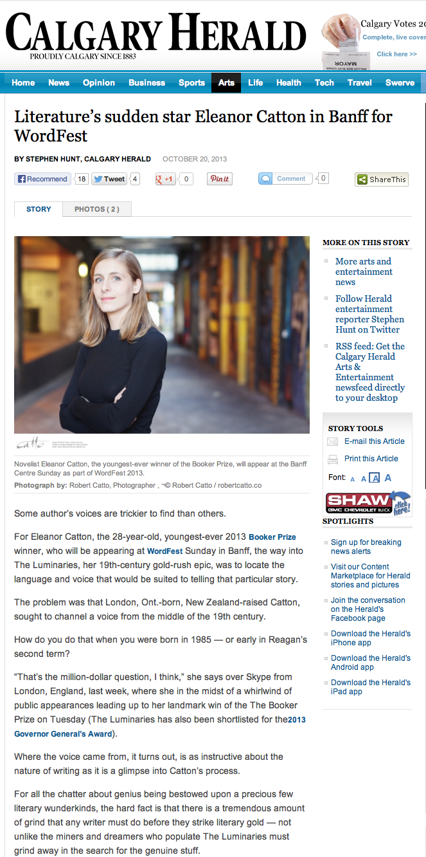 Eleanor Catton in the Calgary Herald