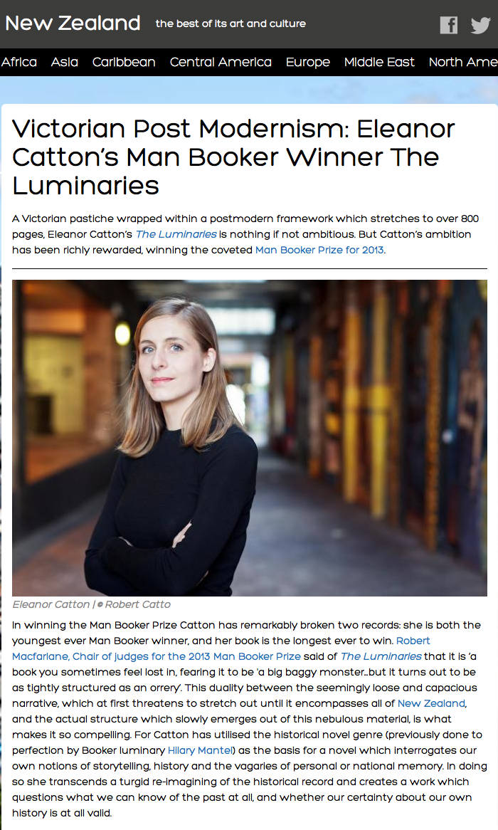 Eleanor Catton on a New Zealand arts site