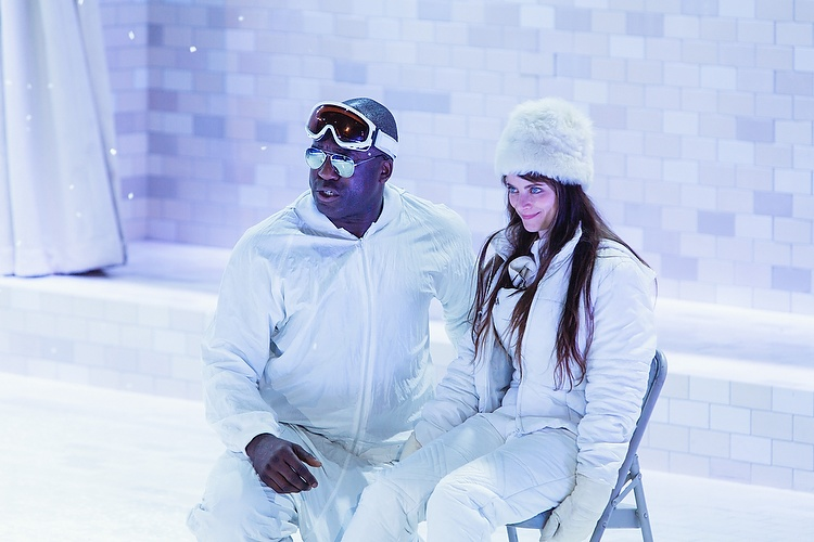 DeObia Oparei as Mr Lies, with Amber McMahon as Harper Pitt