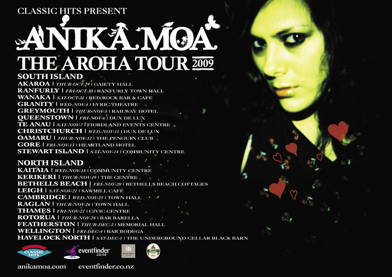 Right: what could be better than an Anika Moa gig coming your way?  Well…what if Julia Deans (of Fur Patrol fame) was touring with her?  Yes.  That would be better.  And most definitely worth $32 - Wellington date is Dec 4th at Bodega, tickets on sale now… ANIKA MOA - THE AROHA TOUR 2009
