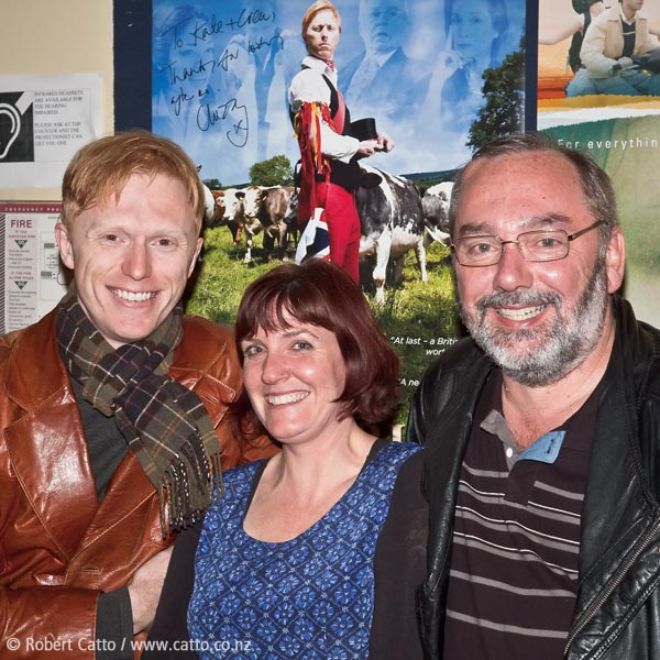 Writer / Producer / Actor Charles Thomas Oldham,  Paramount  manager Kate Larkindale and  Arkles Entertainment 's John Davies at the Wellington preview screening of Chaz' film  Morris: A Life With Bells On , 2 Dec 09.