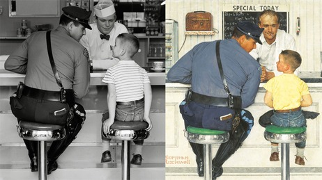 Behind The Lens: Norman Rockwell's Photographers (at NPR) interesting to see the photos - and photographers - behind the paintings!