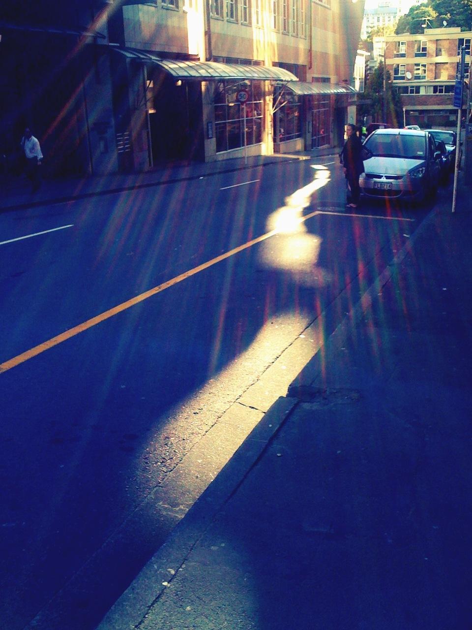 Late sun reflecting on Boulcott St, 5 Oct '10.